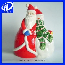 Santa Snowman Christmas Overlying Coffee Tea Candy Container Jar Pot Ceramic