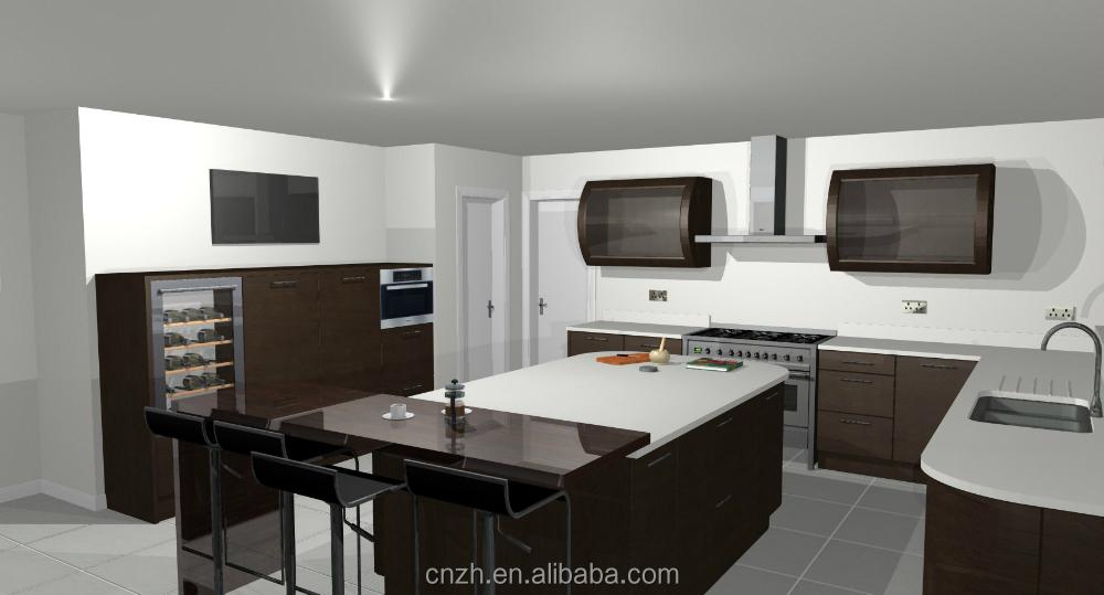 Paquete plano acr lico mdf medio isla gabinete de cocina for Gabinetes de cocina en mdf