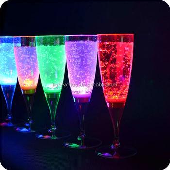 Fda Colorful Led Glass Display Grade Plastic Led Champagne Glass