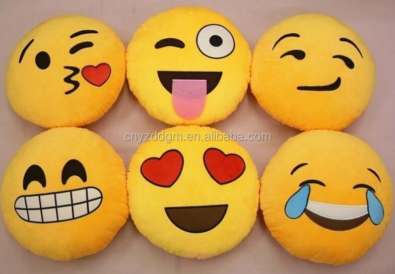 Free Sample Stuffed Emoji Pillows Kiss Love Heart Smile Face Yellow Round  Cushion Pillow/cute Cheap Plush Emoji Cushion/ - Buy Stuffed Emoji Pillows