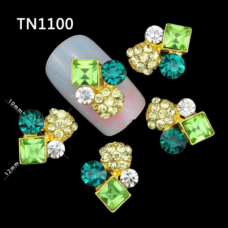 10 Pcs 3D Nail Art Decorations Gold Alloy Diy Glitter Skull Charm Green Rhinestone Tools Used