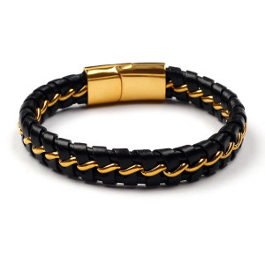 Mens Braided Stainless Steel 18K Gold Plated Genuine Leather Bracelet Bangle,Magnetic Clasp,7.8""