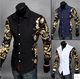 CL0065A Men's Long Sleeved Color Block Print Slim Shirt