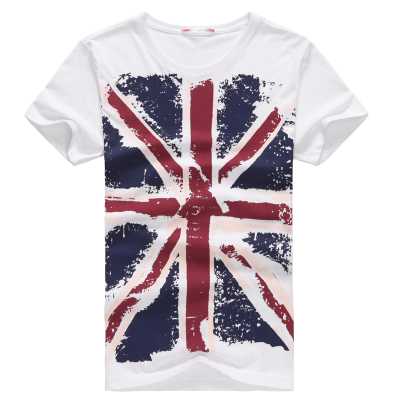 c85949cb6eb Get Quotations · Clothing 2014 New Brand 100% Cotton Union- Jack Clothing  Male Slim Fit Man T