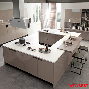 High Gloss U Shape Solid Surface Top Kitchen Bar Serving Counter And