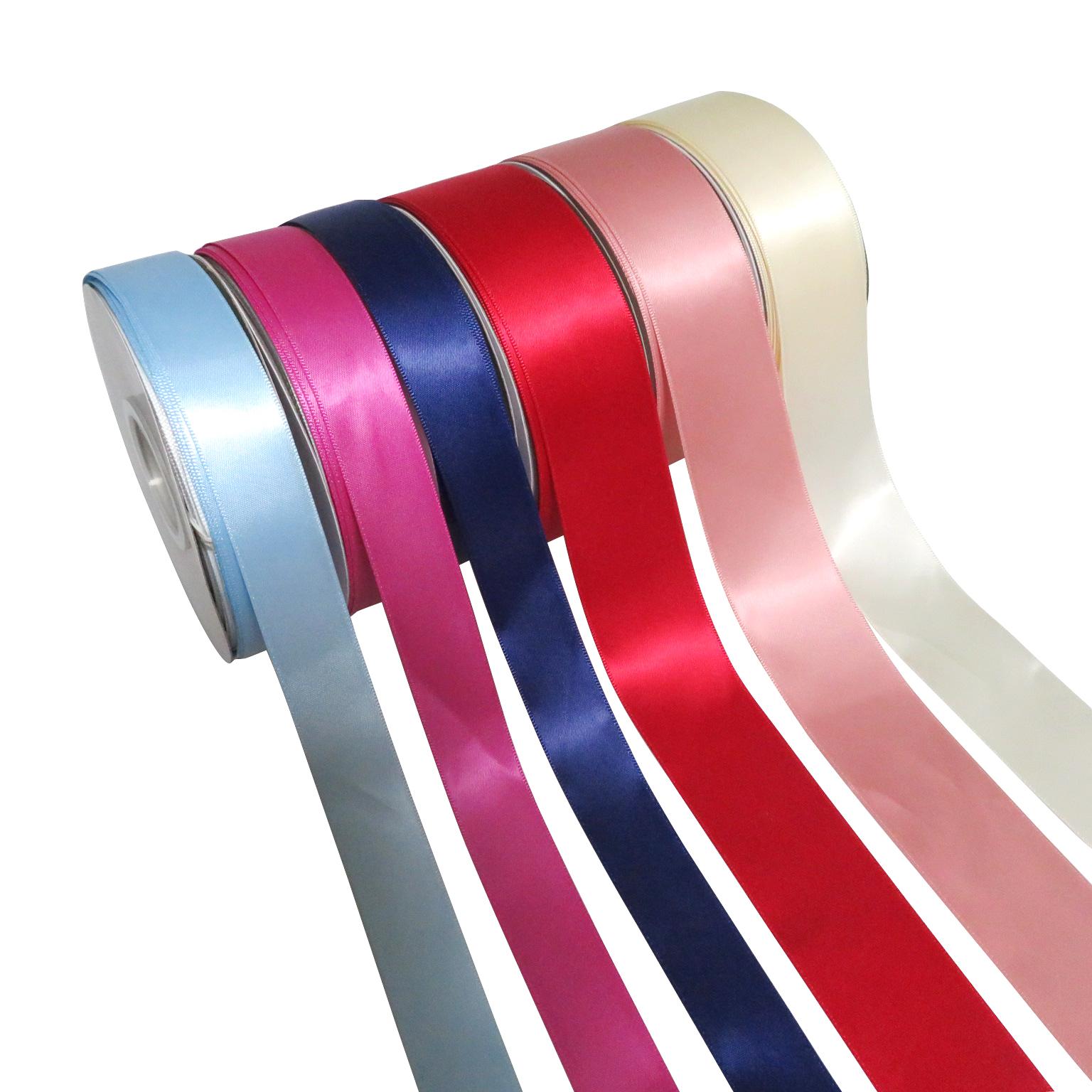 % 100% polyester renkli özel baskı saten kurdele ambalaj ve hediye için 196 renkler mevcut