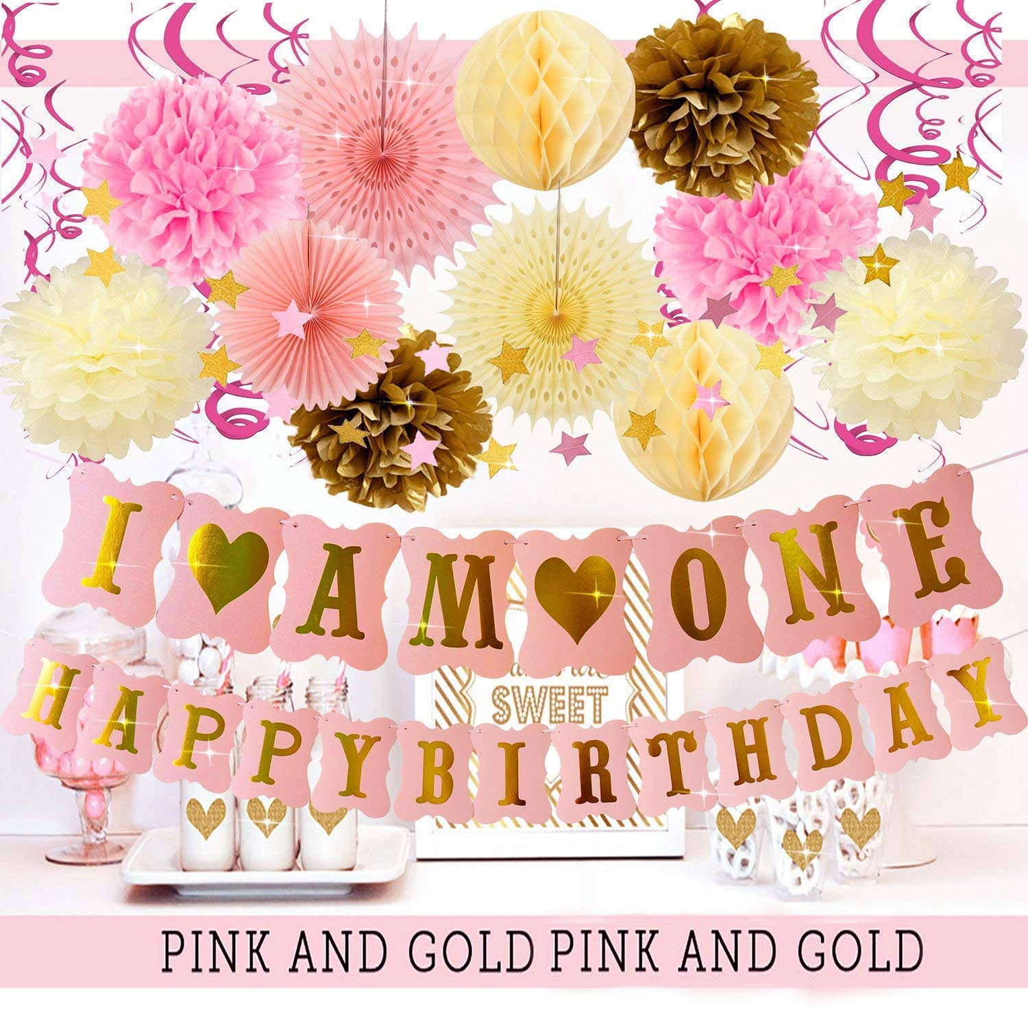 Girl First Birthday Decorations Furuix I AM ONE Banner Paper Fans Swirl Garlands Pink Twinkle Little Star Backdrop Cloud For One Year Old Girls