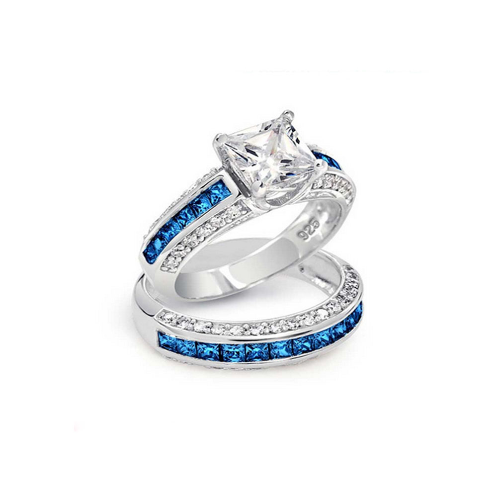 Engagement Rings Sterns: Blue Sapphire Silver 925 Sterns Wedding Engagement Ring