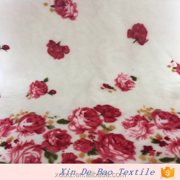 white printed flannel fabric with red rose