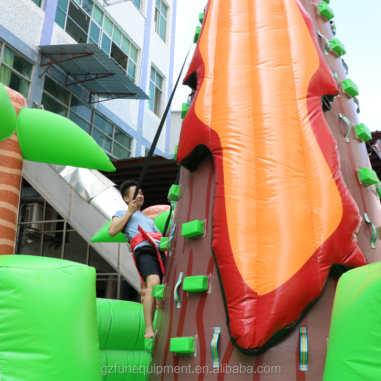 Factory 0.55mm PVC climbing wall inflatable sport game mountain bouncer inflatable rock climbing wall for sale