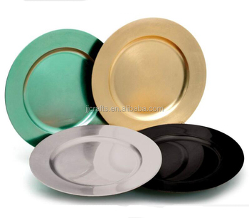 Wholesale cheap gold silver plastic charger plates for wedding