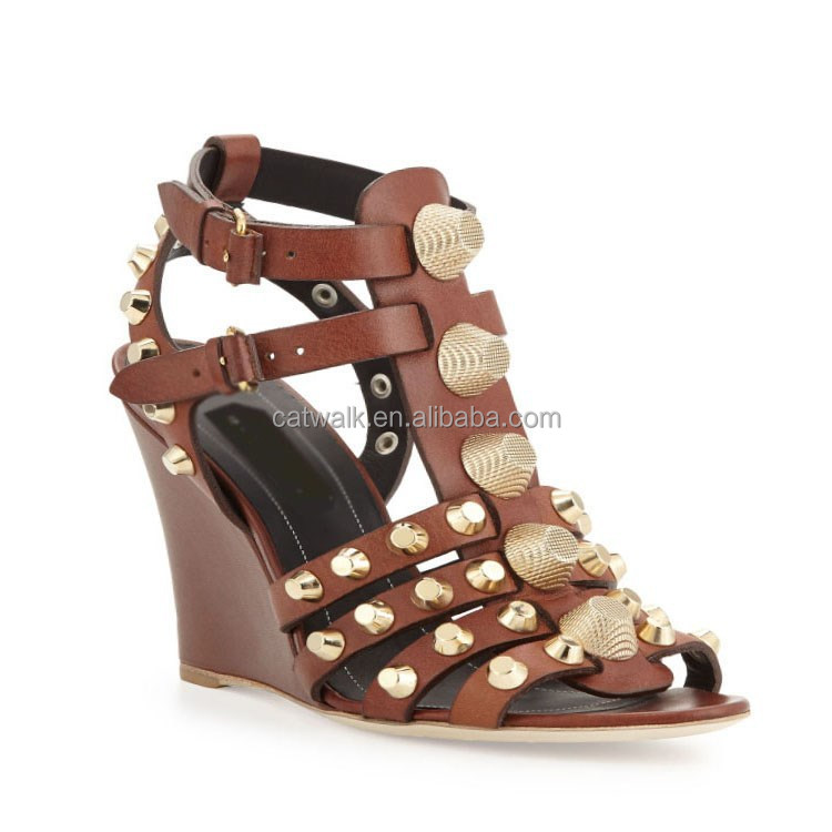 Ankle High Gladiator Sandals Wedge Heel Covered Shoes Brown Gold ...