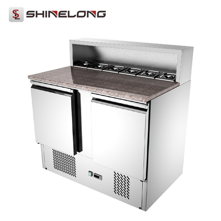 Guangzhou Static Cooling Refrigerated Counter Top /Salad Bar Refrigerator Marble Top Design