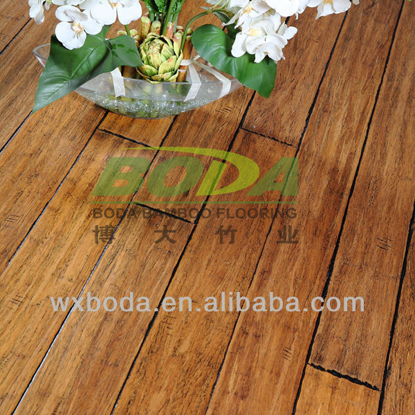 Exotic coffee color handscraped click strand bamboo flooring