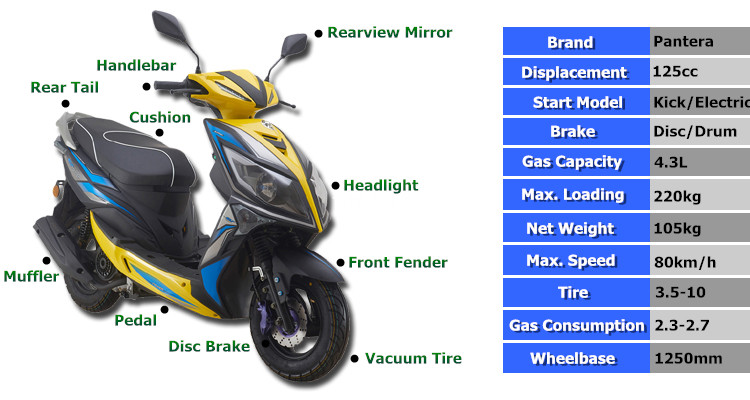 New Style Mini 4 Stroke 125cc 150cc Gasoline Scooter Motorcycle