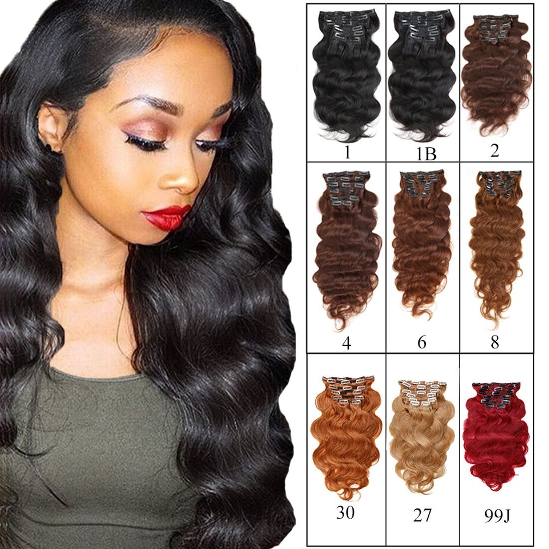 """Full Head Clip in Hair Extensions Body Wave Human Hair Brazilian Virgin Hair Double Weft Black Brown Blonde Burgundy Copper Red 7Peices/set 70g-160g (200g 28"""", Natural Black)"""