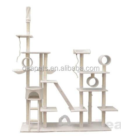 96 Tan White Cat Tree Play House Gym Tower Condo Scratch Post Rope Basket Swing