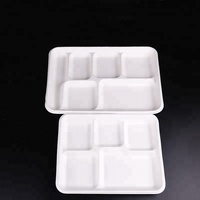 High Quality Fast Food 5-Compartment Plates Bagasse Food Tray