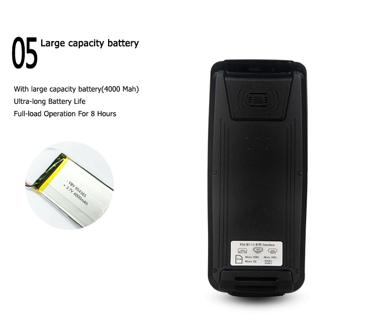 Android Handheld Mobile Phone 4G Bluetooth Wifi 1d 2d Barcode Scanner With Display