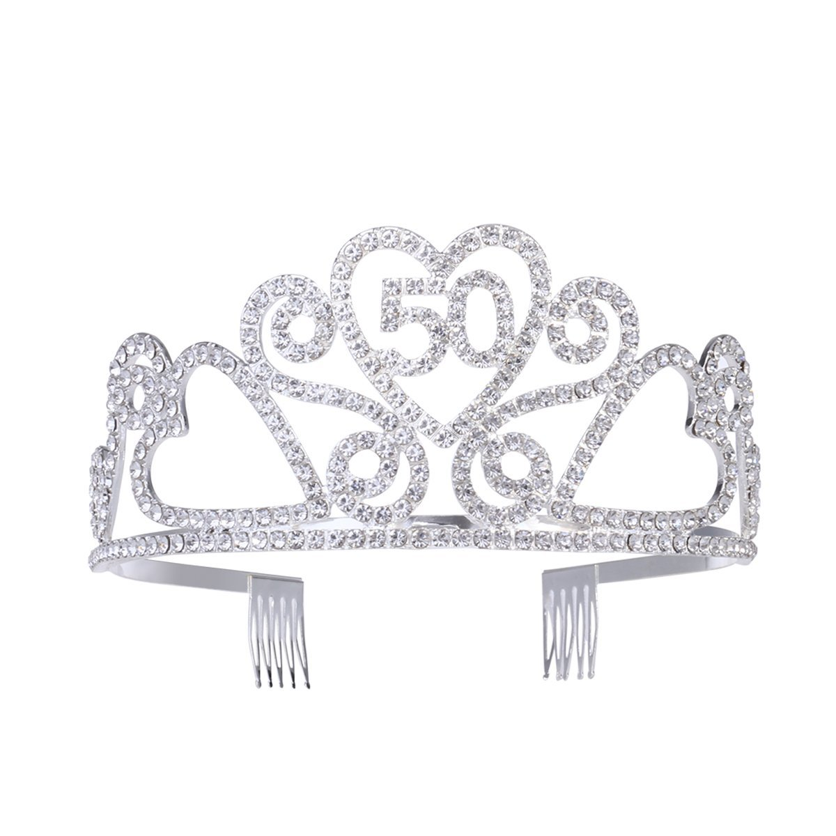 b7c0e5992e Buy Frcolor Women 50th Birthday Tiara Crystal Rhinestone Birthday ...