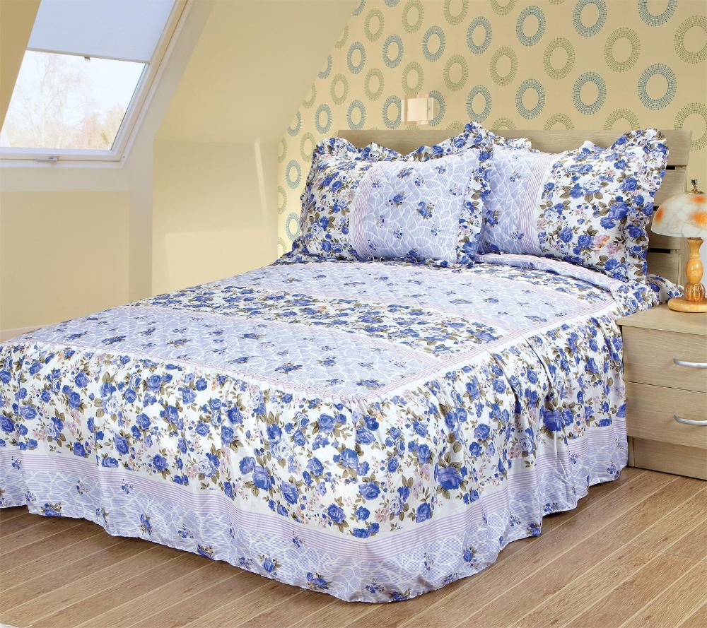 TOP RUFFLED PRINTED BEDSPREAD SET WITH SHAMS