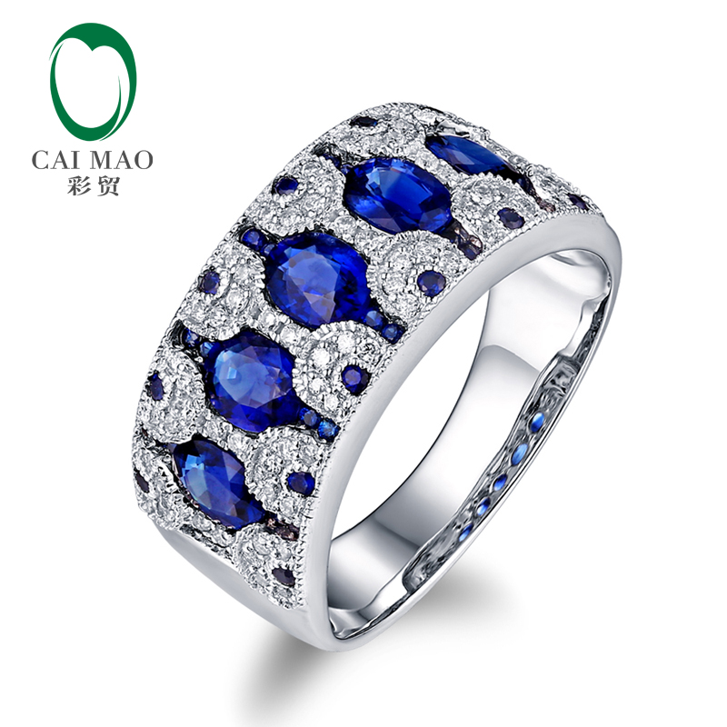 <strong>Fashional</strong> 2.07ctw Natural Oval Sapphire Superior Diamond 14k White Gold Band