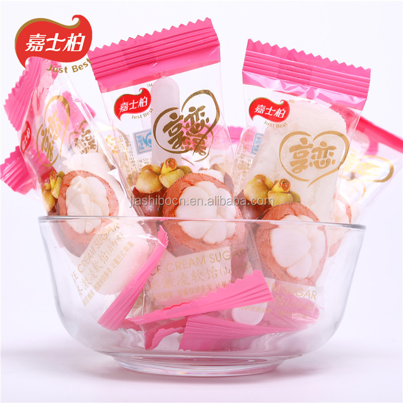 Sweet ice cream ice lolly flavor candy lollipop with sugar powder around
