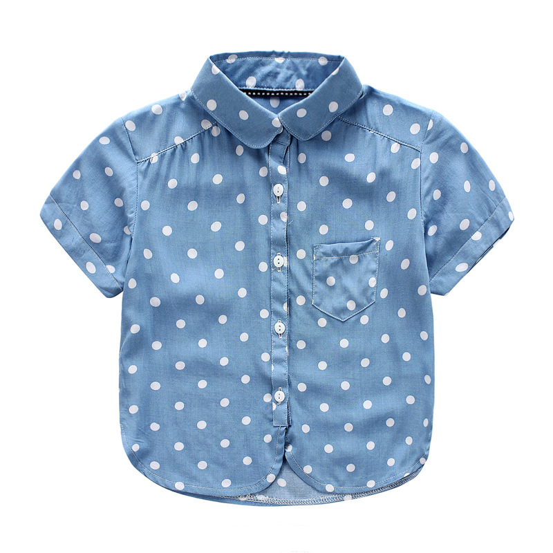 neway Summer cotton casual shirts baby children fashion soft silk- smooth tops blouse toddler girl polka dot short sleeved shirt