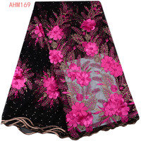 3D Flowers beaded lace fabric new 3d tulle net fabrics floral with beads for wedding