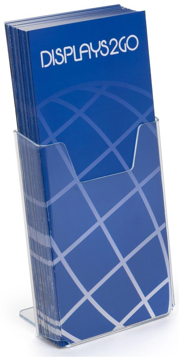 "Case of 20, Brochure Holders, Clear Acrylic Countertop Literature Displays Hold 4""w x 9""h Pamphlets – Plexiglas Leaflet Dispensers Has an Angled Back"