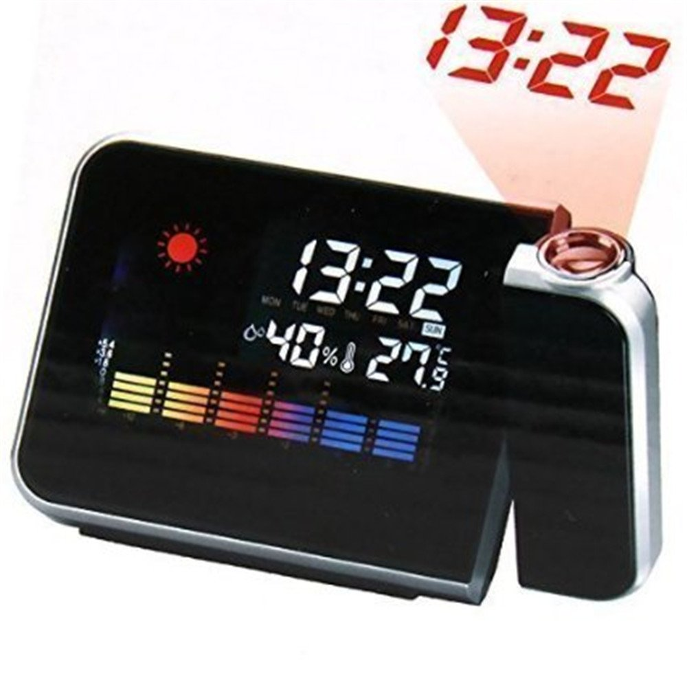 SYS Hot Projection Weather LCD Digital Alarm Clock, Backlight LED Color Display Projector Snooze Alarm Hours Clocks
