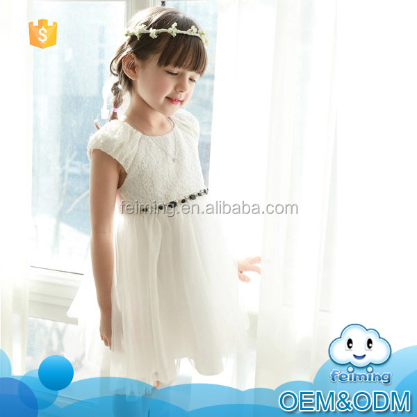 Latest design summer custom fit princess lovely lace flower baby girl wedding dress for evening dress 2015
