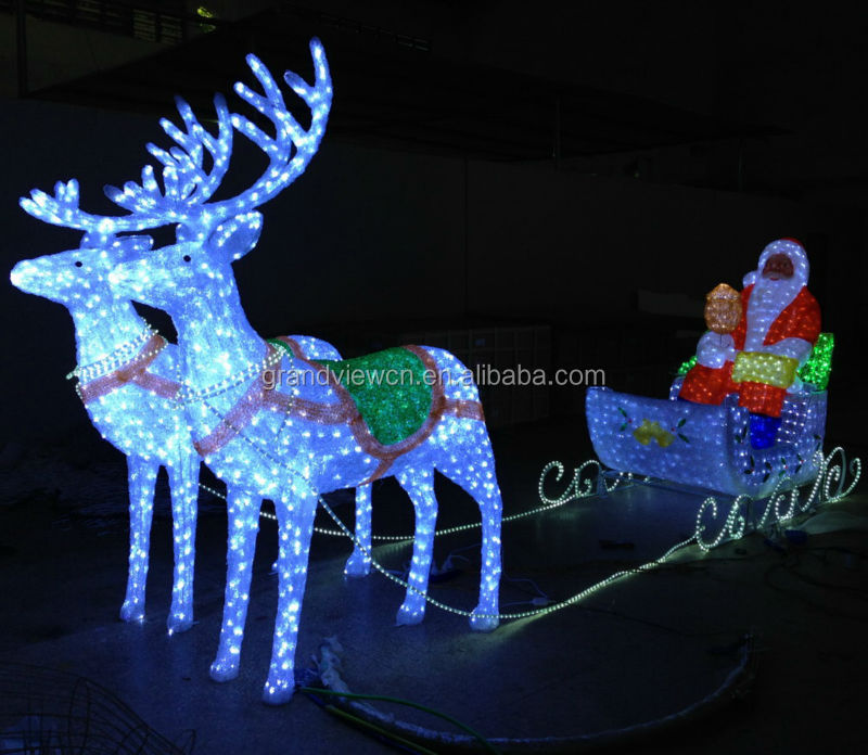 Led Christmas Lights Santa Carriage Deers For Outdoor Decoration ...