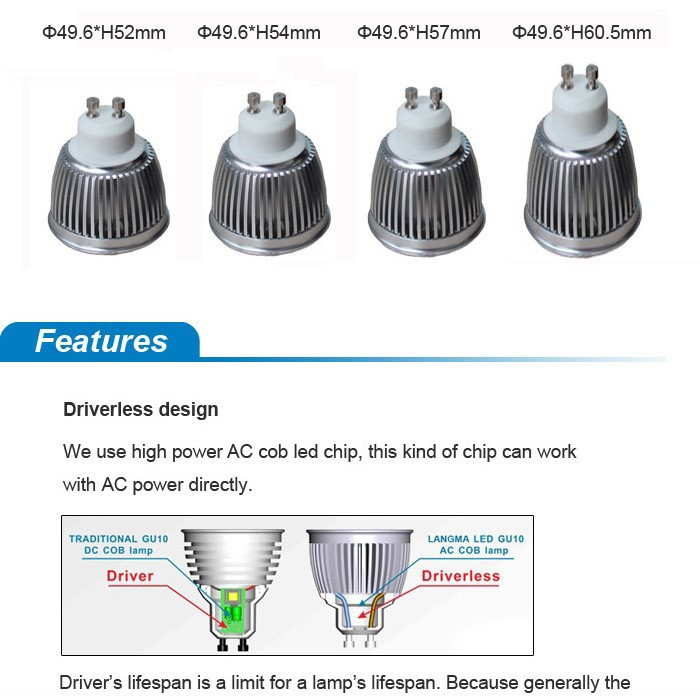 Langma High Bright 6w LED GU10 lamp Cool White/Warm White AC85-265V Ampoule LED GU10 led spotlight ceiling dimmable