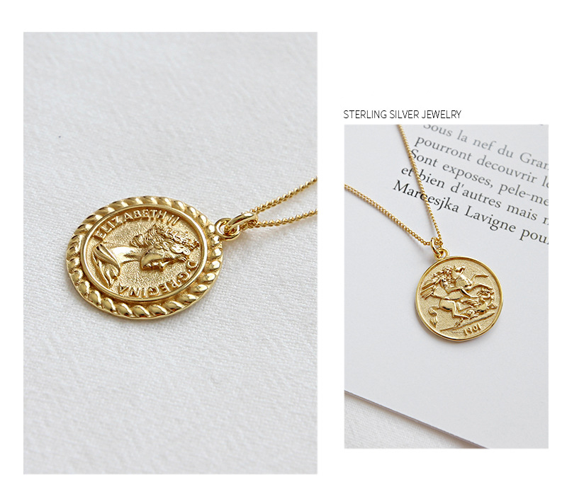 925 Sterling Silver Coin Pendant Necklace for Girls Women