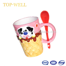 Cartoon dog decor ice cream ceramic cup with spoon