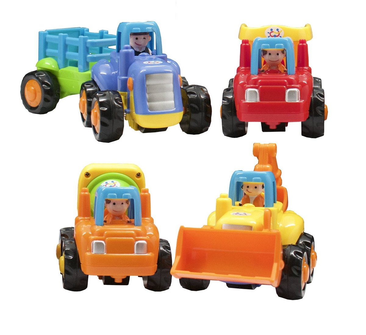 Push and Go Cartoon Friction Powered Play Engineering Vehicles Car Toys for 3 Year Old Boys Toddlers Kids Tractor Dump Truck Cement Truck Excavator Mixer Bulldozer Tractor SET OF 4