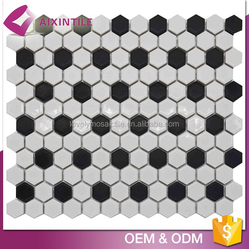 Hs Code Black Flower Decorative Ceramic Tile Mosaic For Floor - Buy ...