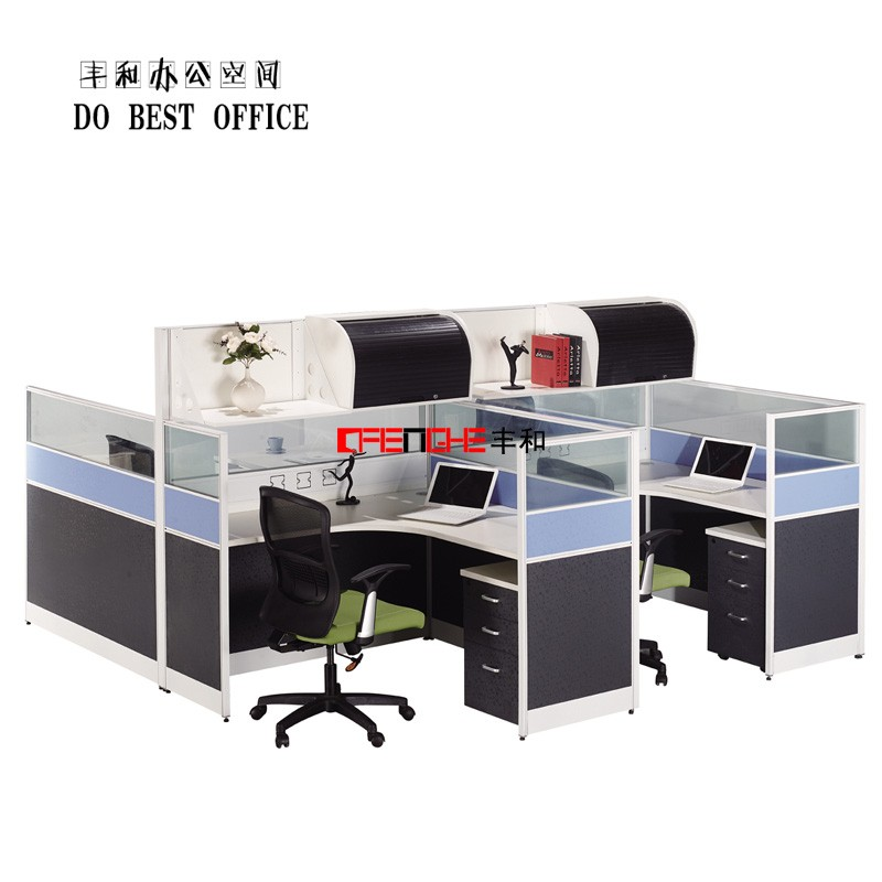 office furniture 75mm modular partition cubicle curvilinear workstation for 4 person