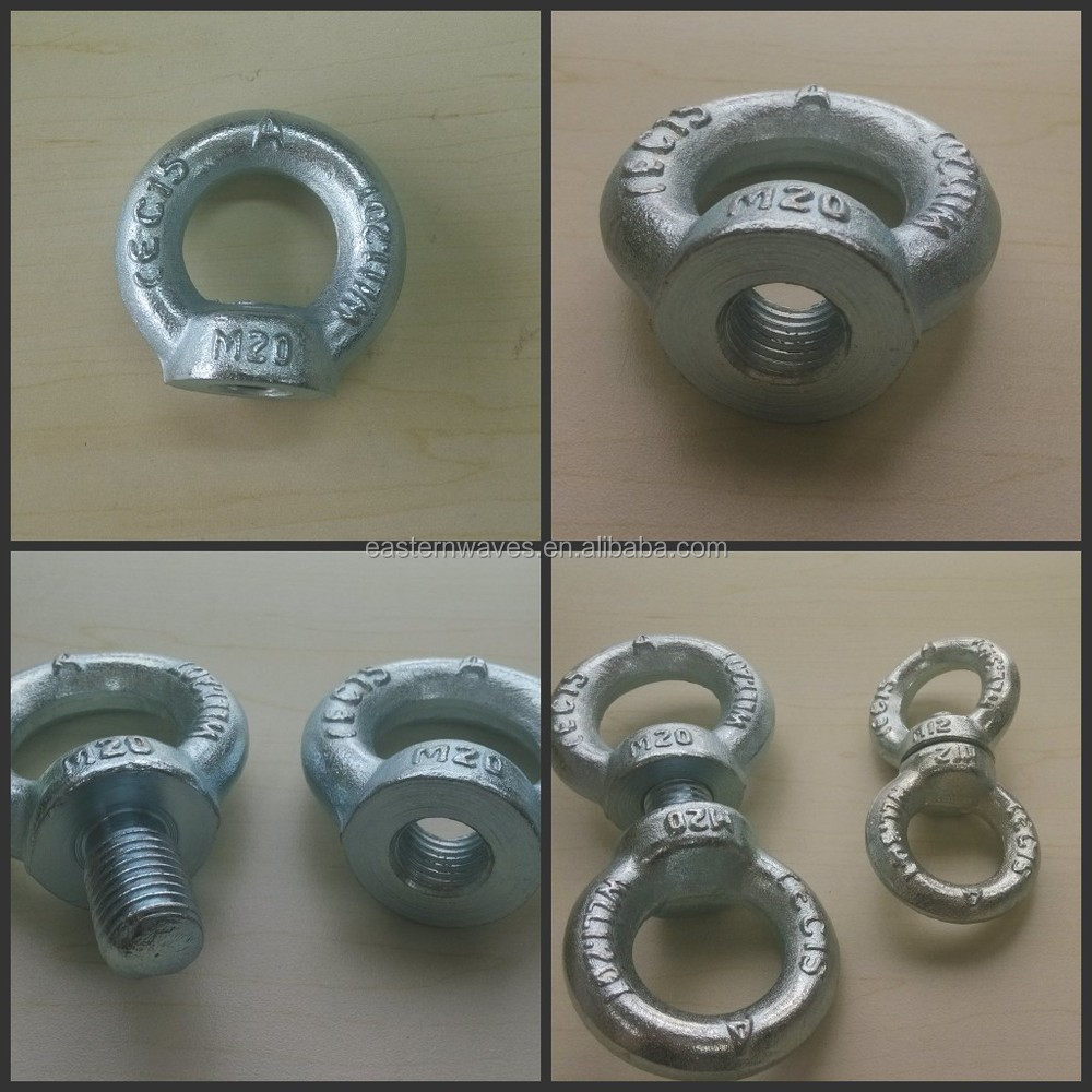 Ring Nut M6 DIN 582 C15E Pack of 6 Eyelet Nuts Iron Galvanised Sling Load 70 kg High Quality