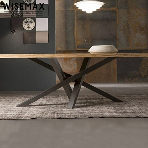 Hot Sale Customized Modern Natural table restaurant 10 seater Wooden Dining Table with metal leg