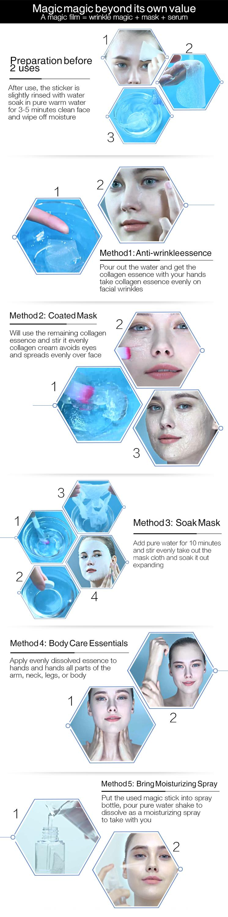 essence treating  facial mask beauty anti-wrinkle forehead mask anti-aging treatment with hyaluronic acid