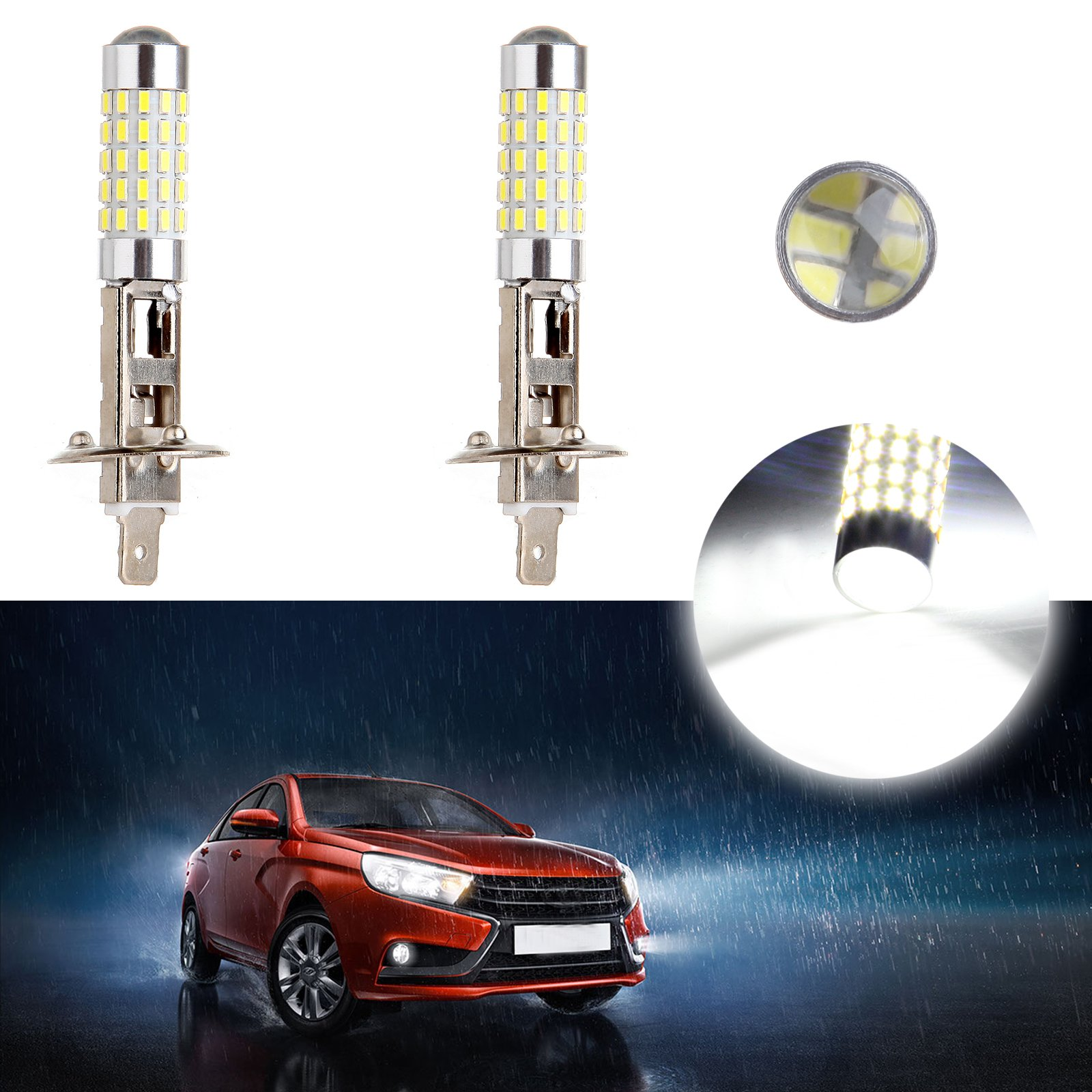CCIYU 1157 2 Pack Xenon White 6000K 60W 6000LM H1 40W CREE High Power Low Beam LED Fog Light