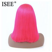 613 прямой парик розовый/синий 13X4 Короткие Синтетические волосы на кружеве человеческих волос парики для чернокожих Для женщин 150% малайзийс...(Китай)