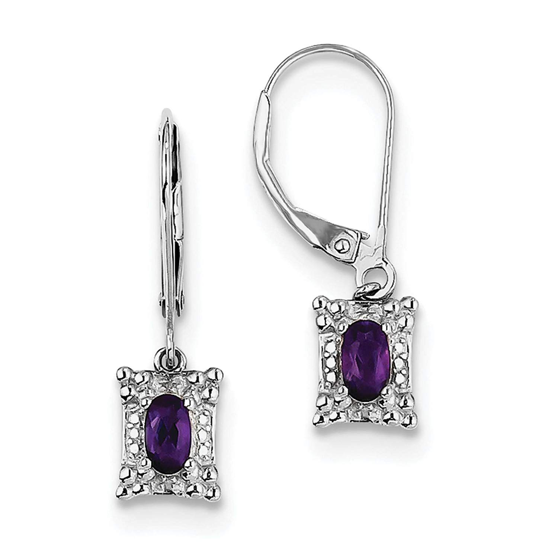 .925 Sterling Silver Rhodium-plated Amethyst & Diamond Dangle Earrings