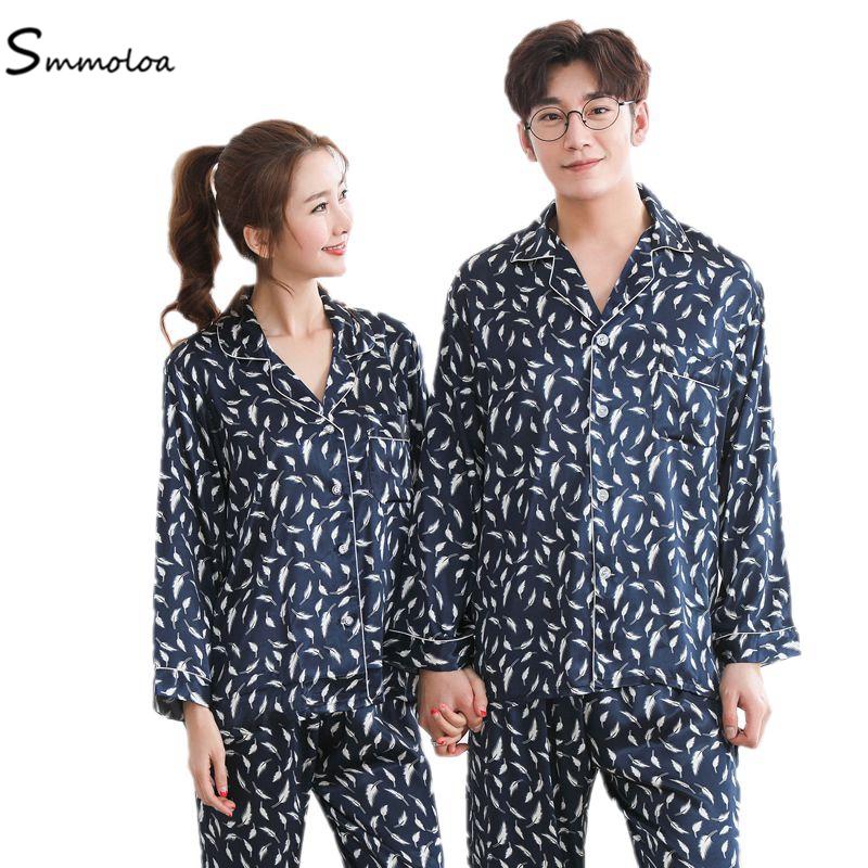 924ea36889f4 Smmoloa Lover пижамы для женщин мужчин шелковый атлас пижамы для девочек  Пара Мода наборы ухода за