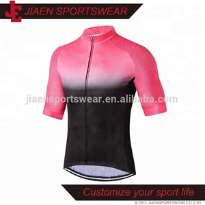 High quality custom sublimated short sleeve summer cycling jersey bicycle clothing pink and black cycling wear