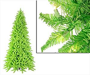 NorthLight 7.5 ft. Pre-Lit Slim Lime Green Ashley Spruce Christmas Tree - Clear & Green Lights