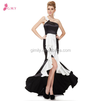 Fashion Half Black And White One Shoulder Classical Evening Wedding