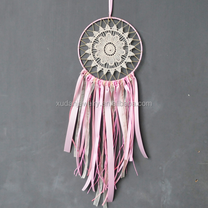 Handmade Pink Ribbon Dream Catcher For Wall Hanging Car Home Decoration